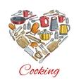Cooking utensils in heart shape poster vector image vector image