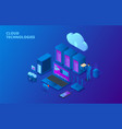 dark isometric cloud storage technology concept vector image