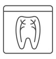 dental xray thin line icon tooth xray vector image vector image