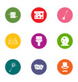 divination icons set flat style vector image