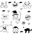 Doodle set Halloween flat vector image