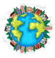 earth with houses and trees vector image vector image