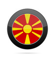 flag of macedonia shiny black round button vector image vector image