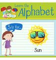 Flashcard letter S is for Sun vector image vector image