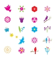 Flowers and birds icons vector image vector image