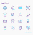 football thin line icons set vector image