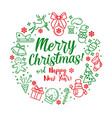 funny pictures with text merry christmas and happy vector image vector image