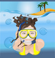 girl swims in a mask in blue water vector image vector image