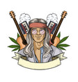 hand drawn sketch hippie man vector image