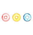hand drawn watercolor donuts on white background vector image vector image