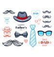 happy father s day elements set hand drawn old vector image