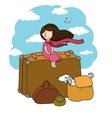 Little girl and big bags vector image