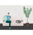 Man with dog pet lying relaxing on the sofa couch vector image