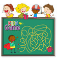 maze game on chalkboard template vector image vector image