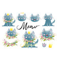 meow funny cat or kitten watercolor vector image