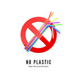 no plastic straws save environment banner protect vector image vector image