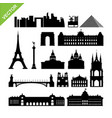 paris france landmark silhouettes vector image vector image