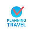 planning travel icon isolated vacation route vector image vector image
