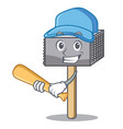 playing baseball character of metallic meat vector image vector image