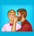 pop art men whisper about sales vector image