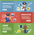private detective banners set vector image vector image