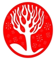 Red Background With Snowflakes Tree vector image vector image