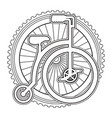 retro bicycle with wheel vector image vector image