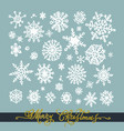 set of white hand drawn snowflakes on a green vector image