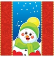 Snowman on background with patterns vector image