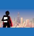 superheroine holding book in city silhouette vector image vector image