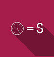 time is money sign icon isolated with long shadow vector image vector image