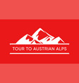 tour to austrian alps logo austrian mountains vector image vector image