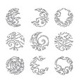 traditional asian cloud round shape set vector image