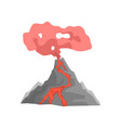 volcano eruption with hot lava and dust cloud vector image vector image