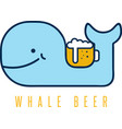 Whale with negative space beer mug design template