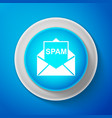 white envelope with spam icon on blue background vector image vector image