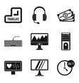 wireless application icons set simple style vector image vector image