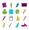 writing icons doodle set vector image vector image
