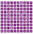100 taxi icons set grunge purple vector image vector image