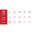 15 legal icons vector image vector image