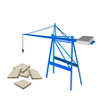 A Blue Mobile Crane with Stack of Wood Pallets vector image vector image