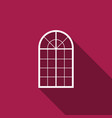 arched window icon isolated with long shadow vector image vector image