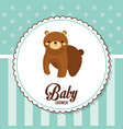 baby shower card invitation with bear vector image vector image