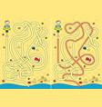 beach maze vector image vector image