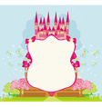 beautiful fairytale pink castle frame vector image vector image