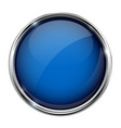 blue glass button round 3d shiny icon with metal vector image vector image
