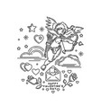 boy cupid shooting from bow vector image