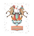 carnival mask with circus horses vector image vector image