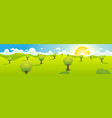 cartoon spring or summer landscape header vector image vector image