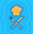 chef with knife and fork sign sand color vector image vector image